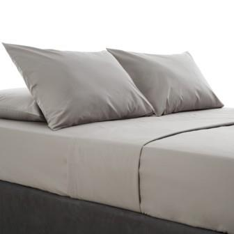 Miss Lyn Plain Flat Sheets Grey 200 Thread Count, 100% Cotton Percale