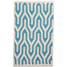 Miss Lyn Nazca Handwoven 60x80cm Rugs Turquoise 100% Cotton