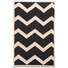 Miss Lyn Zigzag Handwoven 60x80cm Rugs Black 100% Cotton