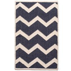 Miss Lyn Zigzag Handwoven 60x80cm Rugs Navy 100% Cotton