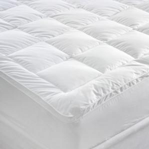 Miss Lyn Box Stitched Mattress Toppers White 233 Thread Count, 100% Cotton Downproof