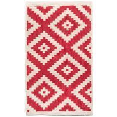 Miss Lyn Diamond Handwoven 60x80cm Rugs Red 100% Cotton