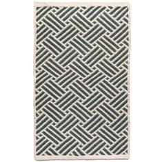 Miss Lyn Interlock Handwoven 60x80cm Rugs Dark Green 100% Cotton