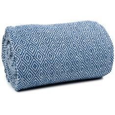 Miss Lyn Diamond Jacquard Throws Royal Blue 100% Cotton